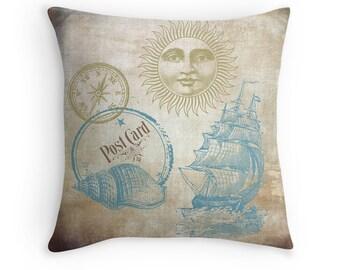 Nautical Decor, Beach Decor, Ocean Decor, Sailing Gifts, Beach Cushion, Sea Decor, Ocean Theme Decor, Sailboat Decor, Blue and Gold Decor