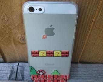 Iphone 5 5s super Mario brothers nintendo Case  Apple. Transparent case.