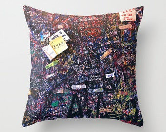 Graffiti Pillow, Velvet Cushion Cover, Teen Room Decor, Dorm Pillows, Graffiti Art, Dorm Room, Italy Decor, Verona, Italy Print, Italy Gift