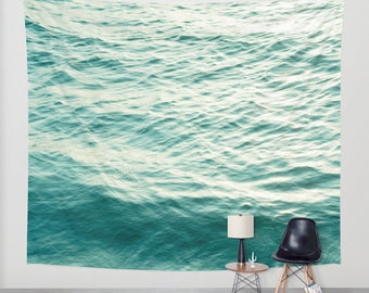 SALE Ocean Wall Tapestry. Home Decor. Large Size Wall Art. Photo tapestry, dreamy tapestry blue decor abstract nursery decor mint sea blue