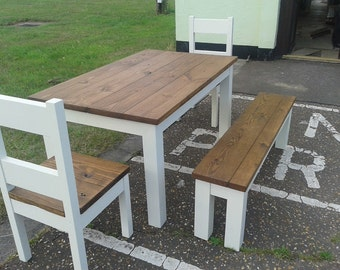 Chunky rustic reclaimed timber Dining Table, Four chairs & Bench