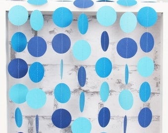 Blue Ombre Paper Garland - Boy Baby Shower Decor - Blue Party Decoration
