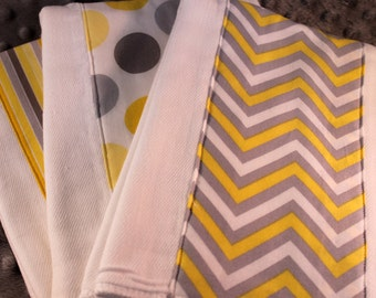 Gender Neutral Burp Cloths with Gray and Yellow Chevron, Dots and Stripes