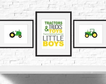 Tractor Nursery - Boys Room Decor - Boys Nursery Art - Tractor Birthday - Tractor Playroom Decor - Tractor Bedroom Decor - Set of 3 Prints