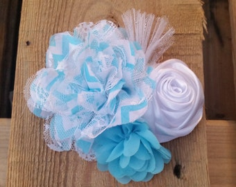 Hair Accessory, Girls Accessory, Summer Turquoise Flower, Chevron Flower, Sparkly Tulle, Turquoise and White, Hair Flowers, Flower Girl