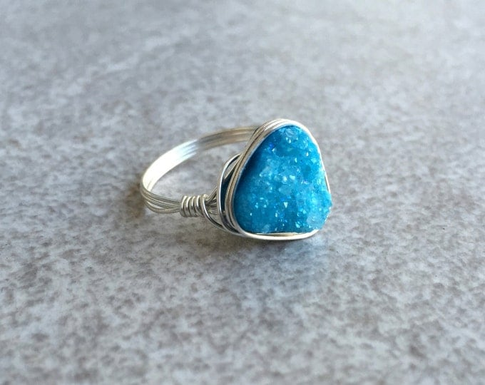 Blue Triangle Druzy Ring