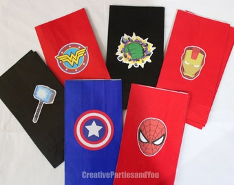 Avengers Party Favor Bags - Superheroes Treat Bag / Captain America Iron Man Hulk Thor / Set of 12 Treat Bags