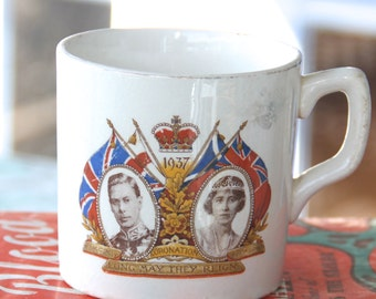 Souvenir Commemorative mug of King George VI and Queen Elizabeth (Queen Mother).