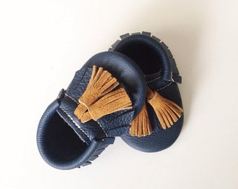 Navy Blue Moccasins with Toast Tassels