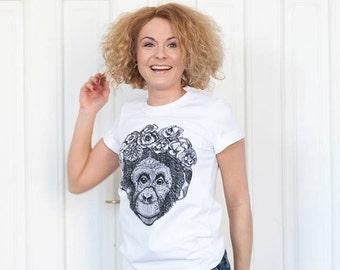 White t-shirt fo women with  chimpanzee silkscreen print.