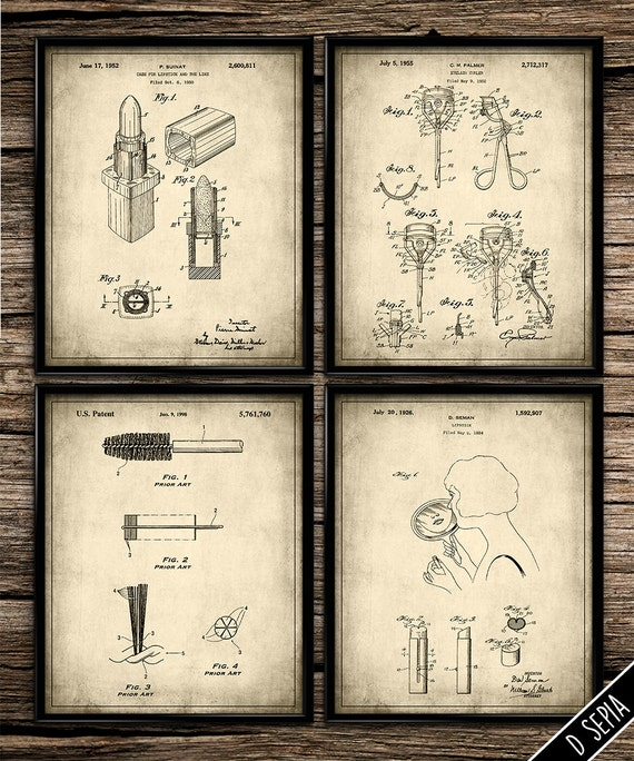 Items similar to vintage patent makeup beauty set patent for Vintage bathroom printables