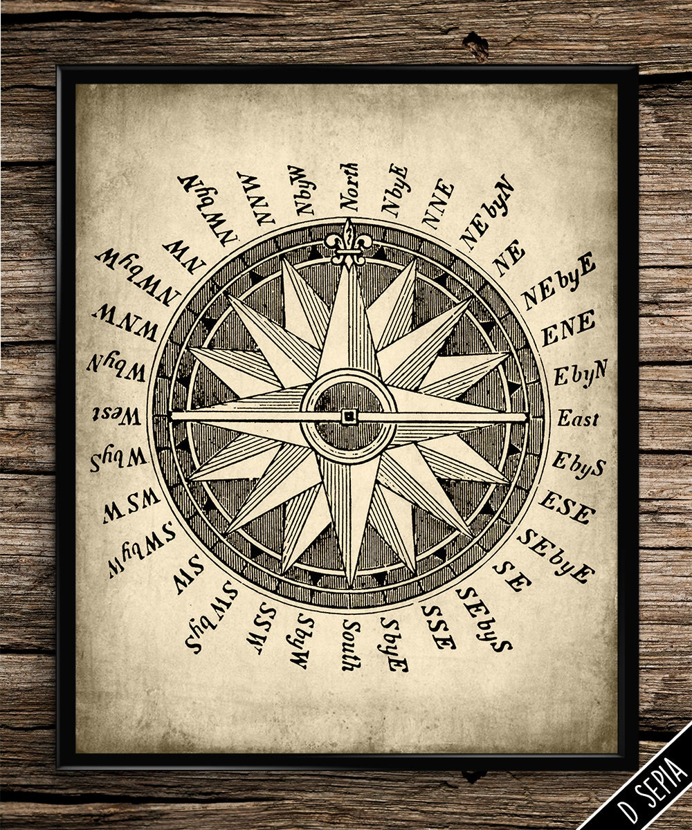 Vintage Compass Wall Decor : Vintage compass print wall art travel by