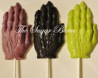 WITCH Creepy HAND Chocolate Lollipops*9 Ct*Halloween Party*Halloween Candy*Trick or Treat*Beggar's Night*Witch Favor*Halloween Chocolate