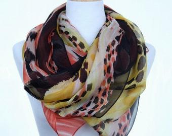 Silk printed scarf, leopard print, Natural silk scarf