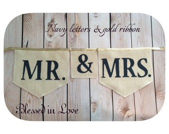 Mr & Mrs, or Mr Mr or Mrs Mrs, burlap bunting, home plate shaped burlap flags, custom banner, many burlap colors, product ID # 2014-017