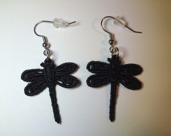 Machine Lace Dragonfly Earrings