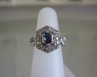 Vintage 14K White Gold Diamond & Sapphire Statement Ring