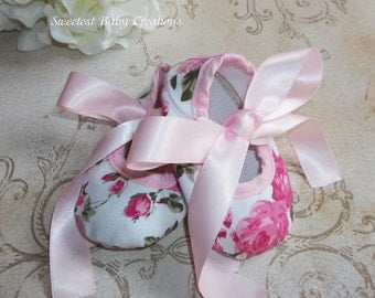 Floral Baby Shoes - Shabby Chic Pink Floral Ribbon Crib Shoes - Floral Baby Outfit - Pink Lace Romper - Floral Baby Romper