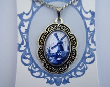 Netherlands, Holland, Delft pottery design, Windmill necklace