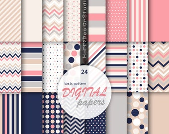 Coral & navy digital paper pack nautical stripes nautical girl pink navy blue beige white scrapbooking pattern background graphic chevron
