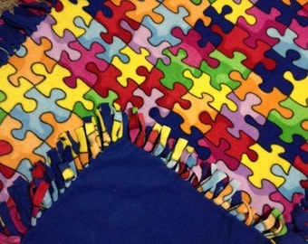 Fleece Tie Blanket/Throw - Royal Blue or Lime Green & Puzzle
