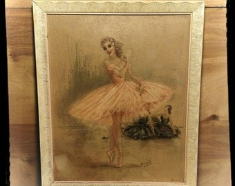Collectible Monte Cotillon French Ballerina Framed Print / Beautful Wall Art / E G Co New York / Birthday Gift / Best Gift Idea / F1101