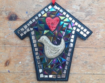 Mosaic Birdhouse Wall Hanging Decoration with Ceramic Bird and Heart.