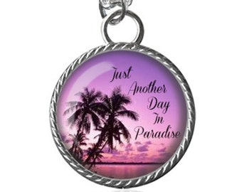 Paradise Necklace, Sunset Necklace, Beach, Gifts For Her Image Pendant Key Chain Handmade