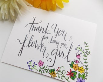 Thank you For Being Our Flower Girl Card - Flower Girl Gift - Flower Girl Card - Bridal Party Thank You Card - Wedding Thank You Card