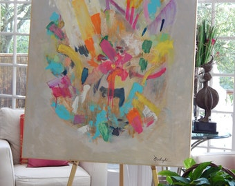 """SOLD!!!   Huge (60"""" X 48"""") Original Abstract Paintings by Pamela Qarbaghi   SOLD!!!"""