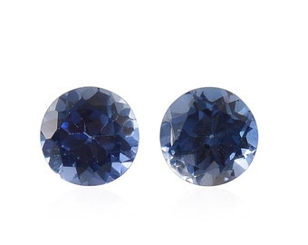 Blue Sapphire Synthetic Lab Created Set of 2 Loose Gemstones Round Cut 1A Quality 4mm TGW 0.60 cts.