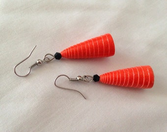 Tangerine paper-beads Earrings. Recycled paper-beads , Eco friendly.