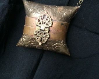 Vintage 70s Indian Brass Pillow Necklace