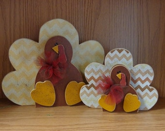 Thanksgiving Decor, Fall Decor, Harvest, Sitting Turkeys