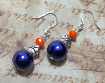 Denver Bronco colored earrings Blue glass Pearl, Orange and Blue earrings