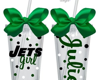 Personalized Jets Tumbler 16 oz. Acrylic Cup BPA Free Custom