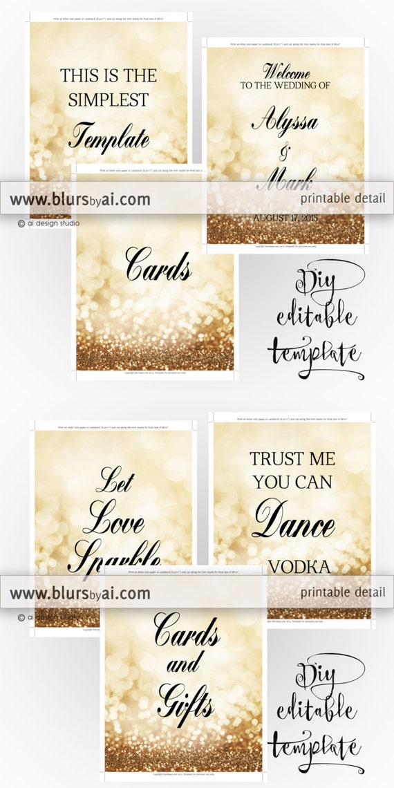 8x10 DIY Printable Sign TEMPLATE For Word Make Your Own Gold Wedding Signs Glitter Bridal Shower Or Party Gp262 Olivia