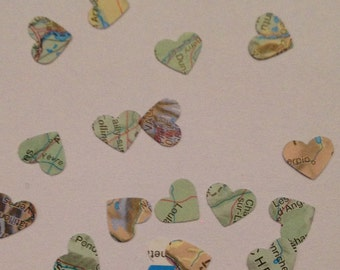 World Map Small Heart Wedding Confetti made from Paper - Bon Voyage Atlas Party Table Decoration
