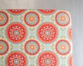 Baby Girl Crib Sheet - Coral and Mint - Crib Sheet - Medallion Print