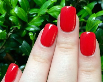 Red nails, fake nails, false nails, red acrylic nails