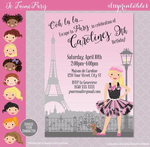 Paris themed party invitation birthday parisian themed ooh - Salon des seniors paris invitation ...