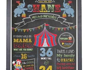 Carnival Theme Birthday Chalkboard/ Circus Theme Birthday Sign/ Festival Theme chalkboard/ Printable