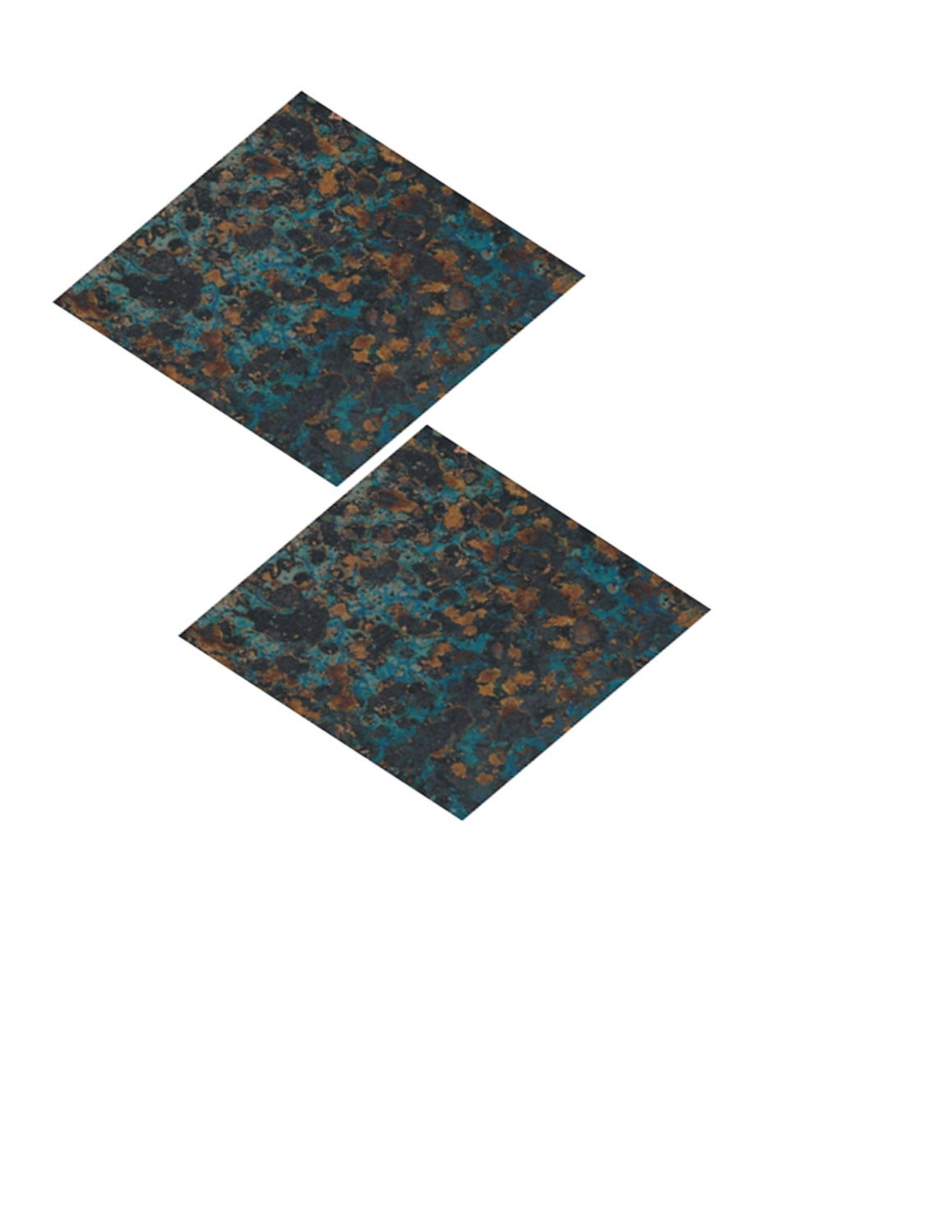Blue And Bronze Copper Sheet Metal 3x3in Wonderfully