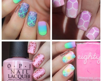 Assorted Pack of 4 x Nail Vinyls Designs - Moroccan, Mermaid, Honeycomb & Geometric