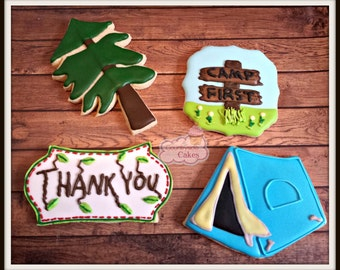 Camping themed Decorated Sugar Cookies -1 dozen