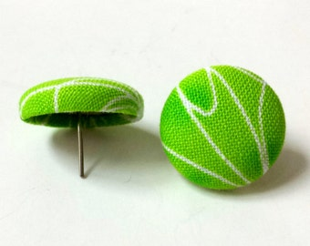 Lime Green Lyme Awareness Button Earrings Green Floral Stud Fabric Earrings Flower Post Earrings Lyme Survivor Buttons Lyme Jewelry Gift
