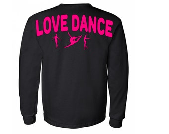 Dancer spirit style regular long sleeve shirt,oversized decal on the back,small logo on the front,custom dancer shirt,full back printing