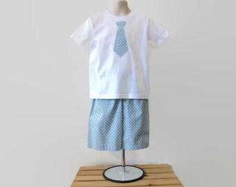 Boys Clothing Set, Boys Shorts Outfit, Toddler Shorts Outfit, Boys Tie Applique Shirt & Shorts, Boys Beach Clothing, Boys Summer Clothing