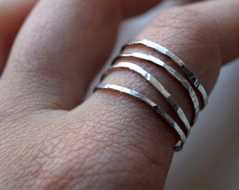 Ceithre - Hammered sterling silver stacking rings set of 4