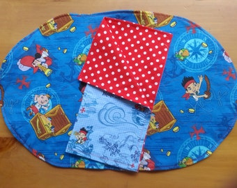 Child's Placemat and Napkin Set, Jake and the Neverland Pirates, Lunchbox, Birthday Party, Jake and Captain Hook, Red Quilted, Red with Dots
